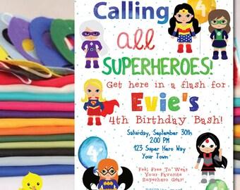 Superhero Invitation | Super Hero Birthday Party Invitation | Superhero Birthday Invitation | Girl | Female Superhero Party |DIGITAL FILE