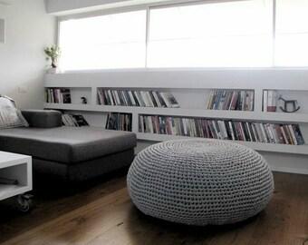 Giant Pouf Ottoman, Extra Large Floor Cushion, Bean Bag Chair, Oversized Round Ottoman, Floor Pouf Seating Pillow, XXL Knit Pouffe