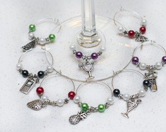 Cocktail Wine Charms, Set of 8