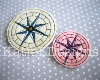 ITH Compass Feltie Machine Embroidery Design Pattern Download In The Hoop Felties 2 Sizes