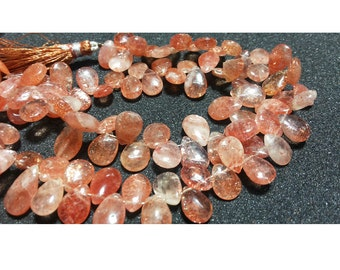 SunStone Beads, Pear Beads, Sunstone Briolettes, Faceted Beads, Wholesale Gemstones, 7x10mm Each, 30 Pieces Approx,