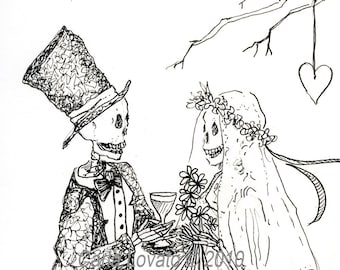 Skeleton Wedding, Skeleton bride, Day of the Dead,  Blank cards, greeting cards, Halloween cards, October wedding, day of dead wedding