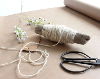 Driftwood Bobbins, Hand Wrapped with Natural Vintage String