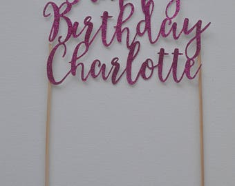 Happy Birthday glitter cake topper