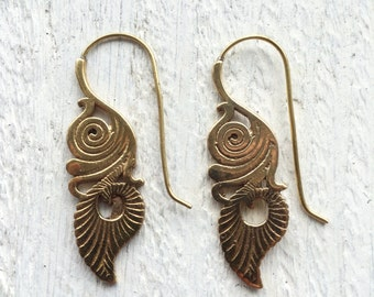 Inca inspired earrings, Tribal earrings, Ethnic earrings, Drop earrings, Statement earrings, Gold earrings