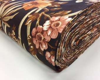 Brown Floral Original Vintage Fabric by the Yard - curtain fabric - pillowcase fabric - home decor fabric - deadstock fabric