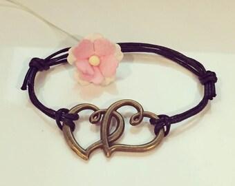 Double heart bracelet in black, love, heart, heart, attachment, friendship, love, infinity, infinity
