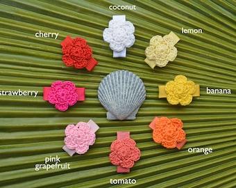 """Handmade Crochet Flower Infant Snap Clip """"Modern Daisy"""" // Petite Crochet Flower Clip"""