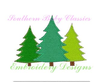 Christmas Tree Pine Camping  Woods Blanket Stitch Applique Trees Row Three Trio Pine Design File for Embroidery Machine Instant Download