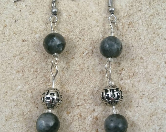 Midnight Labradorite dangle earrings, drop earring, gemstone earring, crystal power, crystal earrings, crystal jewelry,Labradorite Jewelry