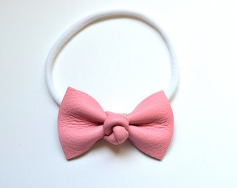 Bubblegum Pink Knot Center MEDIUM Leather Bow Headband for Newborn Child Little Girl Adult Adorable Photo Prop White Pink Blush Baby Bow