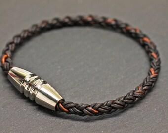 Braided Bracelet , Mens Bracelet , Mens Leather Bangle , Mens Bracelet ,  Men's Jewelry , Gift For Men , Boyfriend Gift , Brown Bracelet