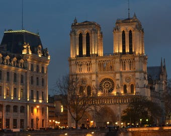 Notre Dame cathedral, Paris at night, Paris photography, Paris art print, wall print, wall art, home decor