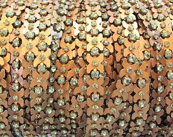Vintage Swarovski Peridot X Shaped Rhinestone Chain, Raw Brass,  24pp (3mm stones) priced per foot