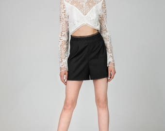 Lily Black&White Short Lace Jumpsuit by Other Theory, 17SS051