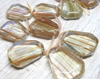 Quartz Beads  40 X 30mm Clear Gold Sand Semi-Faceted Loose Triange Focal Bead - 1 piece