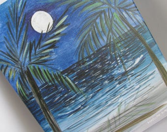 Tropical Decor 11 X 14 Giclee Print Caribbean Art Full Moon Beach Scene Bathroom Wall Art Colorful Art Tropical Painting