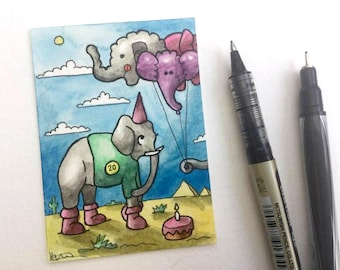 Elephant balloons birthday party colorful miniature art ATC Gift Art Trading Card Whimsical - Original ART ACEO Watercolor - Katie Hone