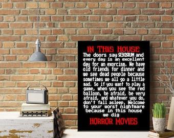 HORROR MOVIE HOUSE Rules Sign Art Print Canvas