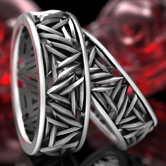 Valknut Knot Viking Silver Ring Set, Interlocking Triangles Ring, Odin Rune Jewlery, Sterling Norse Rune Ring, Jewelry Custom Size 1189