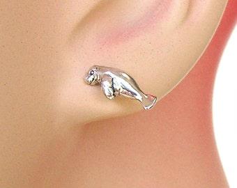 Earrings Manatee Sterling Silver Sea Life Minimal Animal Ear Studs no. 3487