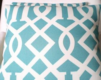 OUTDOOR Pillows Decorative Patio Pillows Cushion Covers Turquoise Cream Trellis Indoor Outdoor Patio Sun Room Pillows Aqua Cushions