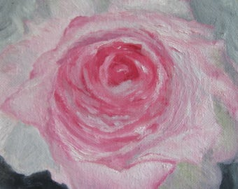 Original small oil painting of Pink Rose