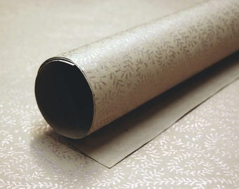 Golden Vine print handmade Wrapping Paper gift wrap set of two large sheets brown gold