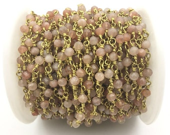 4mm faceted Pink Monnstone Gold Plated Rosary Gemstone Chain. Sale by Foot