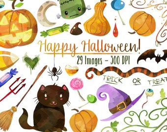 Watercolor Halloween Clipart - Halloween Items Download - Instant Download - Black Cat - Jack-o-Lantern - Witch