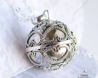 Baby Chime 20mm Hearts Harmony Ball Sterling Silver Pendant Necklace LS80