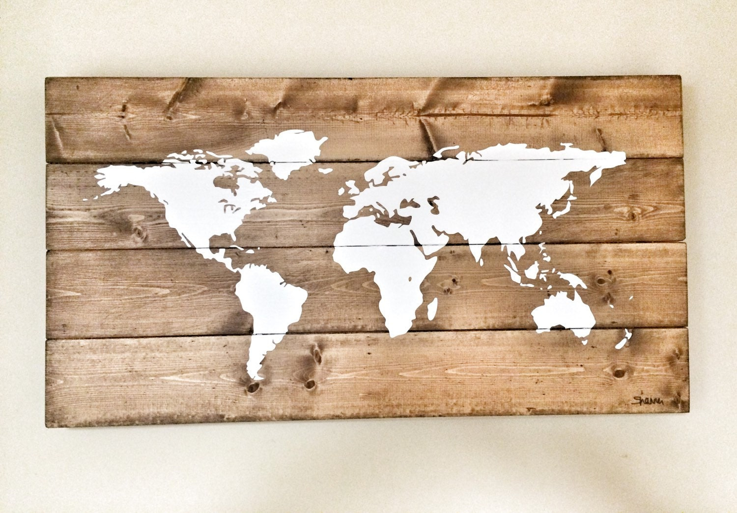 Rustic Wood World Map, Rustic Decor, Farmhouse Decor