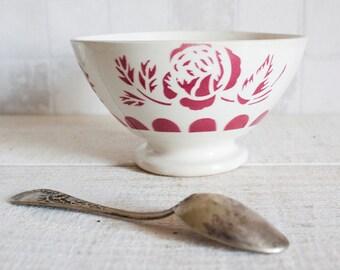 Vintage French Shabby Chic DIGOIN SARREGUEMINES Porcelain Bowl || Dark Pink Flowers Ceramic Café au Lait Bowl