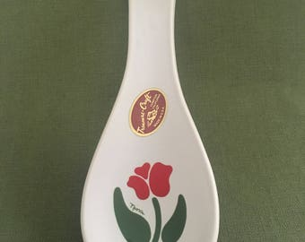 Treasure Craft USA Spoon Rest, Nina Pattern, Tulip Pattern, Signed Nina, Tulip Spoon Rest, Ceramic Spoon Rest, Porcelain Spoon Rest