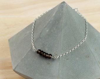 Smokey Quartz Gemstone Bracelet - Silver Bracelet - Stacking Bracelet - Delicate Bracelet - Gemstone Bracelet - Simple Bridesmaid Bracelet