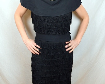 Super RARE Vintage 1950s Black Fringe Flapper Dress - Varden Petite