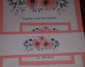 Beautiful flower wedding invitation stationary set