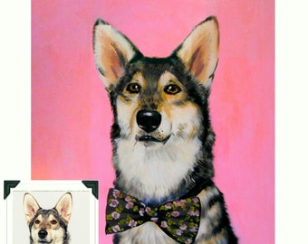 "14x18x0.75"" Custom Dog Portrait / Custom Pet Portrait - 1 Pet Solid background Husky Example Acrylic Painting"