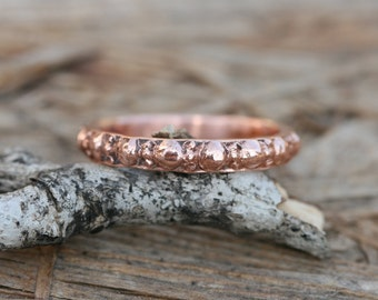 Made To Order, Stacking Rose Gold Band, Antique Roman Design ,Solid Gold Wedding Ring, Handcraft Ring, 14K GOLD BAND
