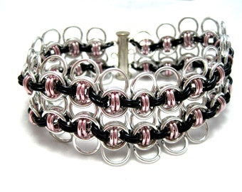 Celtic Wings Sheet Chainmaille Cuff Bracelet - Pink, Black, Silver