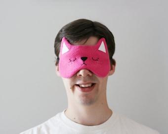 Pink Cat Sleep Mask, Cute Kitty, Silk Eye Mask, Gift for Animal Lovers, Soft Fleece
