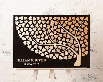 Wedding guest book wood Wedding guest book sign Wedding guestbook alternative 3D guest book BEIGE wedding Tree of Hearts Rustic guest book