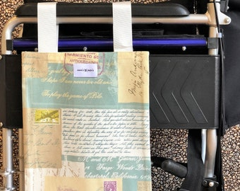Letterlious Wheelchair Bag/ Mobility Aid / Zimmer Frame Bag (Canvas Material - Washable)