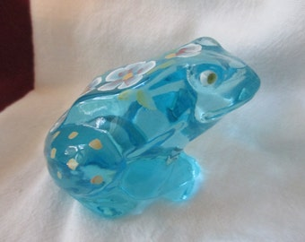 Fenton Hand Painted and Signed by Artist Glass Frog with embossed Logo Topaz Blue