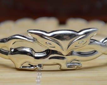 27 Gram Purity 990 Fine Silver Solid Made Fox Bracelet Bangle Size Adjust Signed