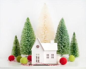 Farmhouse Putz Ornament DIY Kit Glitter House Christmas Decoration Paper Craft Kit Christmas Mantle Decor