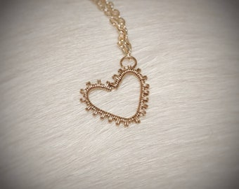 14k rose gold filled necklace, rose gold heart pendant, rose gold jewelry, wire wrapped pendant, fine jewelry