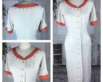 Original Vintage 1940's Full Length White And Terrecota Dress