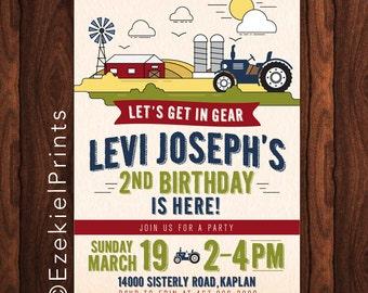 Tractor, Farm Birthday Party Invitation