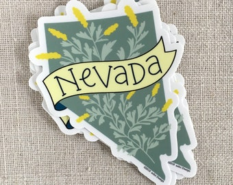 Nevada State Vinyl Sticker / Nevada Sagebrush Sticker / Hand Lettered Waterproof Sticker / Laptop Sticker / Modern Sticker / Travel Sticker